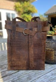 Revival by leather Design Croco Brown(laptoptas)