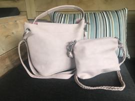 Zachtroze bag in bag tas nubuck look