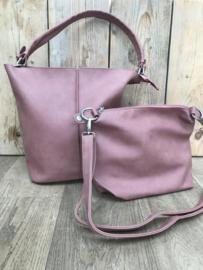 Roze bag in bag tas met siernaad