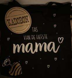 "CADEAUBON 20 EURO met tas ""Liefste mama"" en tashanger taupe/zwart"