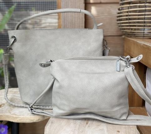 Licht taupe bag in bag tas met nübuck uitstraling