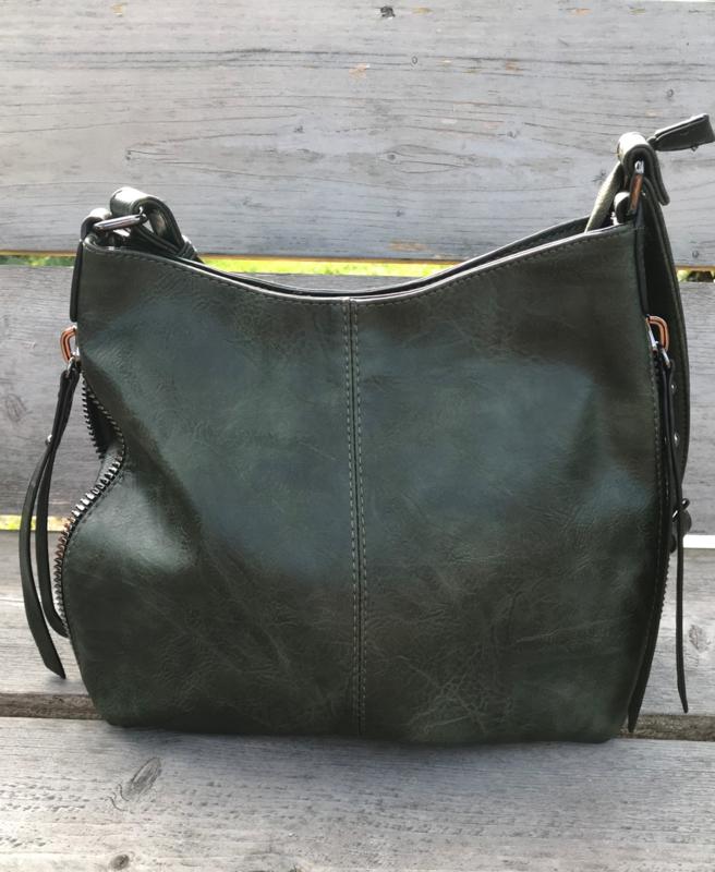 Groene tas met rits rondom