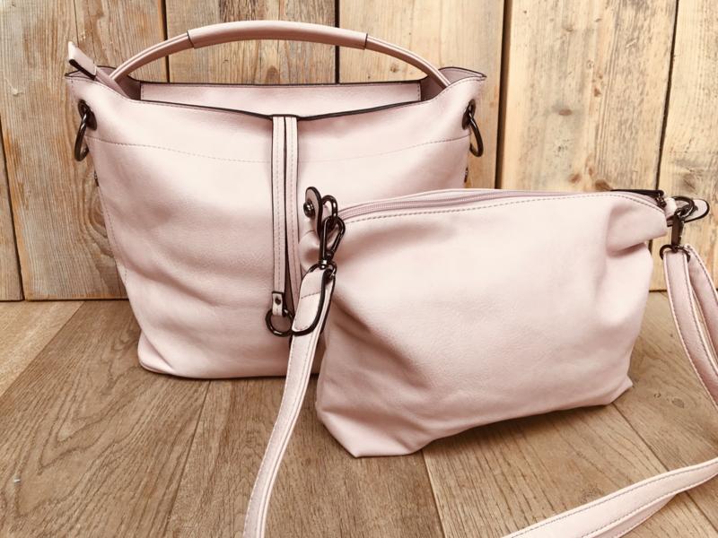 Zachtroze bag in bag tas met sierhanger