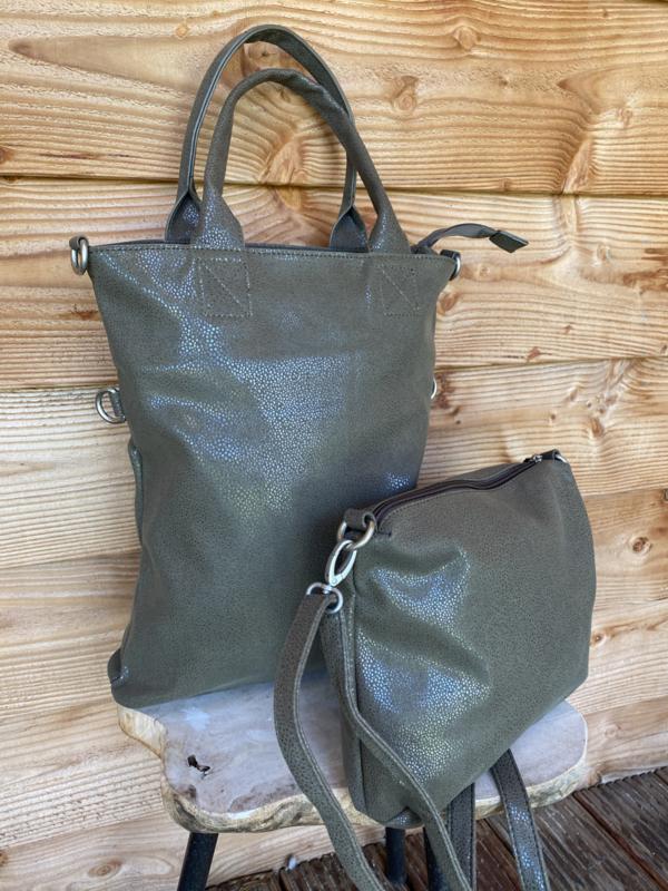 Bag in bag shopper metallic look groen