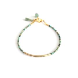 Tibetan Turqoise  & gold filled tube Armband