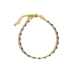 lapis Lazuli Gem & Seed beads Enkelbandje