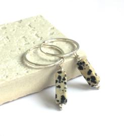 Oorbellen Sterling zilver Dalmatian Jaspes
