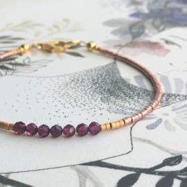 Armband Granaat  & Miyuki
