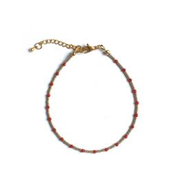 Coral Gem & Seed beads Enkelbandje