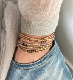 Set armbanden Granaat & Miyuki