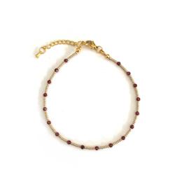 Granaat Gem & Seed beads Enkelbandje