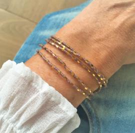 Wikkelarmband Gold plated & Taupe
