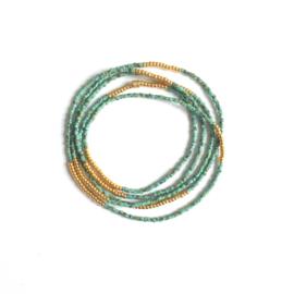 Wikkelarmband fijn Gold / Green
