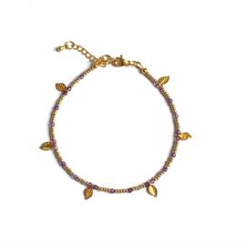 Amathist Gem & Seed beads Enkelbandje