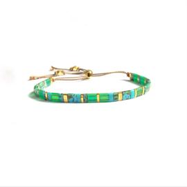 Emerald & Turqouise  Tila Bracelet