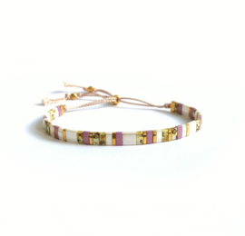 Tila Armband Summer White, Lila & Gold