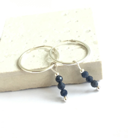 Sapphire Sterling Silver Hoops