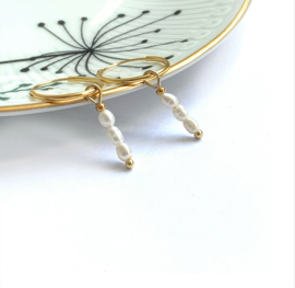 Oorbellen delicate pearl Vermeil