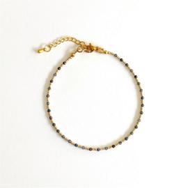 Saffier Gem & Seed beads Enkelbandje