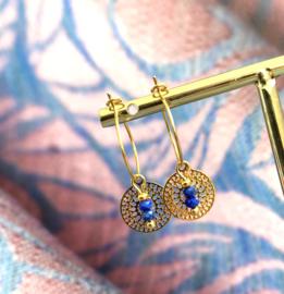 Stainless Steel Creolen Lapiz Lazuli