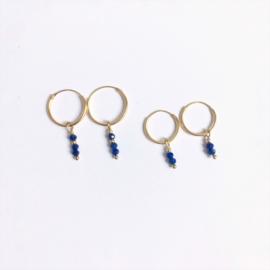 Vermeil oorringen Lapis Lazuli 14 - 16 mm