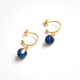 Stainless Steel Hoops lapis Lazuli