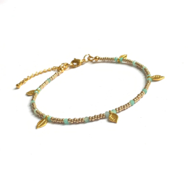 Amazoniet Gem & Seed beads Enkelbandje