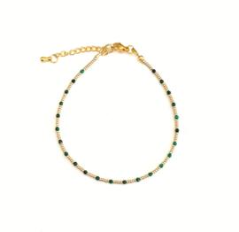 Malachiet Gem & Seed beads Enkelbandje