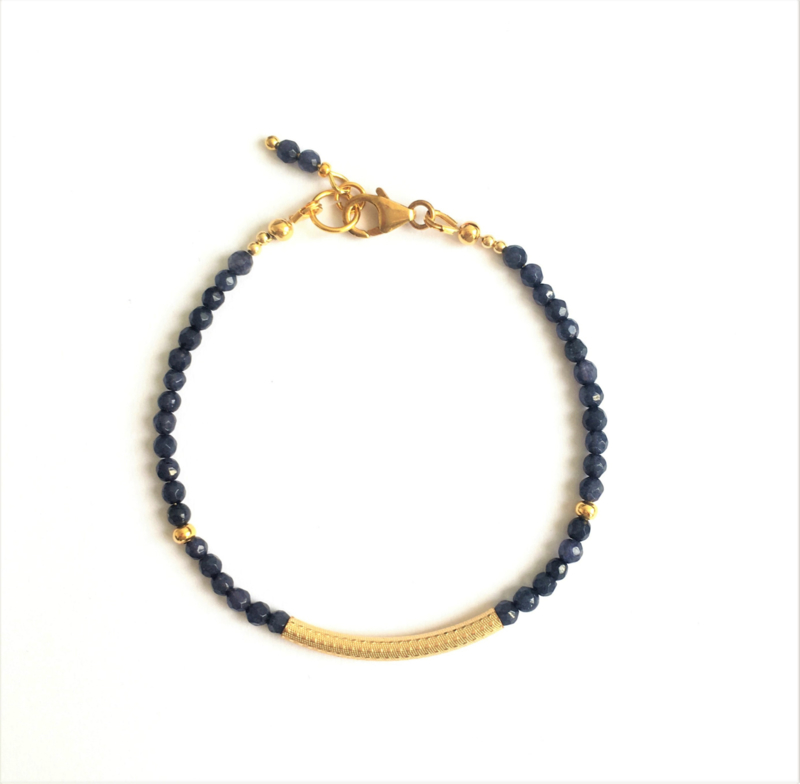 Armband  Blue Jade & Gold filled
