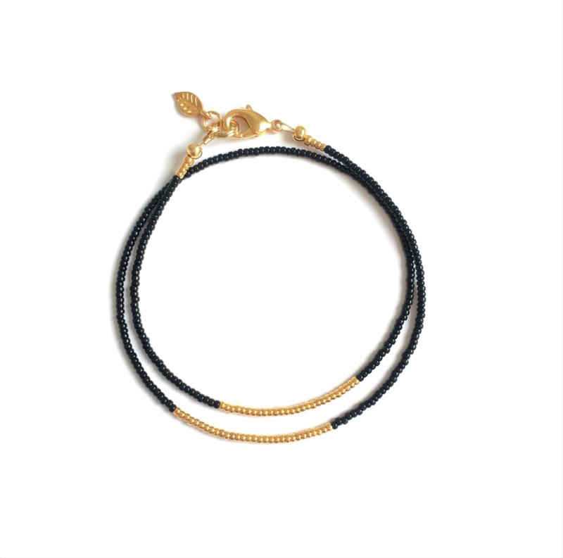 Minimalistische Armband goud/zwart