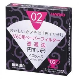 Hario V02 Filters 40 stuks wit