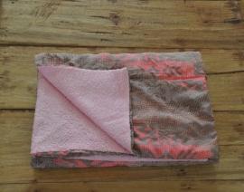 Ikat Strandhanddoek Roze/Grijs