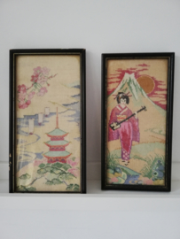 Vintage borduurwerk  Geisha & Pagode