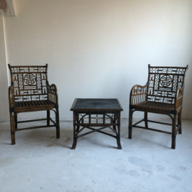 Vintage Chinoiserie Armchairs & table VERKOCHT