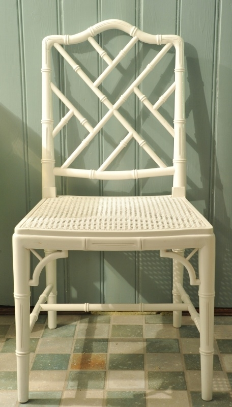 Vintage Faux Bamboo, Chinese Chippendale stoel