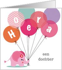 Olifantje meisje ballonnen voor dochter geboren