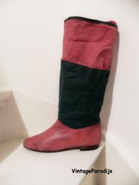 Unieke rode/groene omslag laarzen (2647)