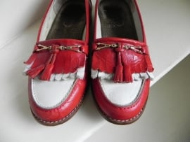 Vintage loafers instappers rood/wit (2015)