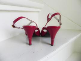 Veneto red slingback peeptoe pumps (2475)