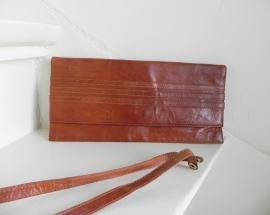 Vintage cognac clutch schoudertas (2118)