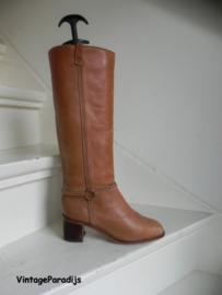 Retro cognac hoge boots (2666)