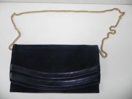 Vintage zwarte clutch schoudertas (1917)