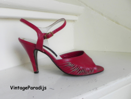 Veneto red slingback peeptoe pumps (2475)