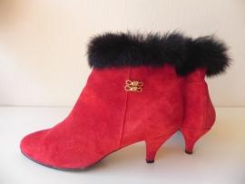 Rode vintage high heels bont laarzen (nr. 1579)