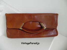 Vintage cognac clutch handtas (2355)