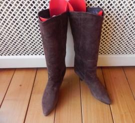 Servas suede high heels vintage laarzen (1649)