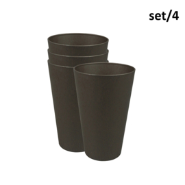 Reload cup large - mocha brown - set 4 - plantfiber - Zuperzozial