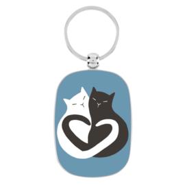 Sleutelhanger - black & white cat - Derriere la porte