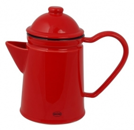 Koffiepot / theepot  - emaille look - rood - Cabanaz