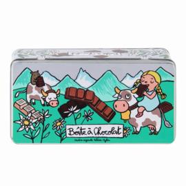 Chocoladeblik - boite a chocolat Alpes - Derriere la porte